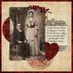 Simply designed heritage wedding page - the twisted ribbon and keys accent really draws the eye to the photo.