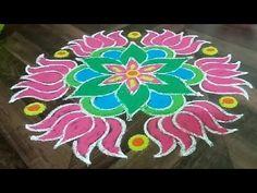 Indian Rangoli Designs, Simple Rangoli Designs Images, Rangoli Border Designs, Rangoli Ideas, Rangoli Designs With Dots, Rangoli With Dots, Beautiful Rangoli Designs, Easy Rangoli, Lotus Rangoli