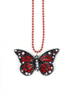 Beautiful Butterfly - Red Laser cut acrylic. Using swarovski crystals.  Unique to Apple Pie Jewelry! Designed with fun!