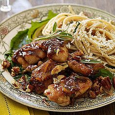 Orange-Balsamic Chicken Thighs with Pecans and Sage Butter Pasta