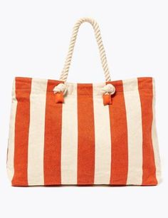 Shop this Cotton Striped Shopper Bag at Marks & Spencer. Browse more styles at Marks & Spencer US Shopper Bag, Tote Bag, Nautical Looks, High Street Brands, Beach Essentials, Bra Shop, Orange Bag, Bold Stripes, Lingerie Set