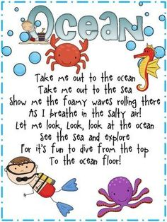 "Ocean Expedition/Preschool Camp: From the website ""Here is a fun ocean song to the tune of take me out to the ball game. I also included a student copy for poetry journals. Preschool Music, Preschool Classroom, Classroom Themes, In Kindergarten, Preschool Activities, Ocean Themed Classroom, Water Theme Preschool, Seasonal Classrooms, Montessori Elementary"