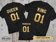 King and Queen 01 Princess 01 Father Mother Daughter T-shirt Set, King and Queen shirts, 01 Couples Shirt Set, 100% cotton Tee, UNISEX by epictees4you. Explore more products on http://epictees4you.etsy.com