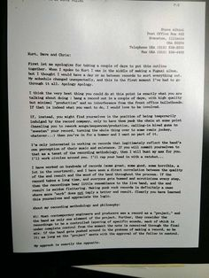 Before Steve Albini produced Nirvana's In Utero, he wrote them a letter outlining his vision. | This Letter Steve Albini Wrote To Nirvana Is Just Incredible