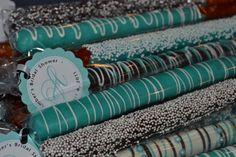 Tiffany Wedding Shower Ideas   Breakfast at Tiffany's themed favors: pretzel rods with custom hang ...