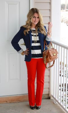 red, white, and blue...the perfect work outfit!  This site has so many great ideas, pin now!