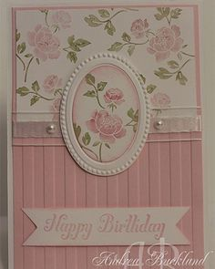 You Are Loved  Pretty card using stripe  embossing folder & circle with dainty flower paper.