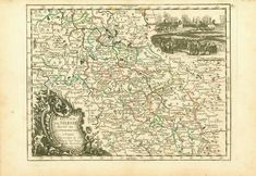 """""""Le Duché de Silesie divise en XVII Principautees"""" (The Duchy of Silesia divided into XVII Principalities) Copper etching by George Louis Le Rouge (1707-1790) Published in """"L'Empire D'Allemagne - Divise par Cercles"""" Paris, 1743 It was the year (1743) of the Prussian-Russian Alliance Treaty, when this map is dated. Prussia was in the middle between the first and the second Silesian War, at the end of which (1745) Austria (to which Silesia belonged) lost Silesia which became a Prussian provinc Antique Maps, Antique Prints, Germany And Prussia, Frederick The Great, Maria Theresa, House Map, King George, Hand Coloring, Living Room Designs"""