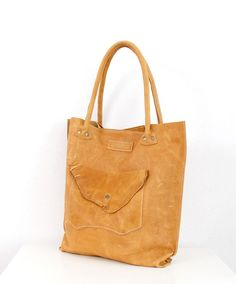Oversized Leather Hobo Bag Honey colored by LABOURofART on Etsy
