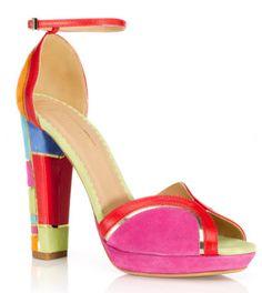 Shop Aquazzura Multicolor Mai Tai Sandal at Moda Operandi Ankle Strap Block Heel, Ankle Strap Shoes, Open Toe Shoes, Open Toe Sandals, Ankle Wrap Sandals, Leather Sandals, Shoes Sandals, Strap Sandals, Chunky Sandals