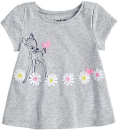 Disney's Bambi Baby Girl Graphic Swing Tee by Jumping Beans®, Size: 24 Months, Light Grey Disney Baby Clothes Girl, Toddler Girl Outfits, Cute Baby Clothes, Kids Outfits, Baby Boy Dress, Baby Girl Dresses, Bambi Baby, Kids Girls Tops, T Shirt Painting