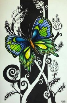 Graphic Style Art Lesson: pen & ink drawing of a bird or butterfly colored with vibrant watercolors & a black & white graphic style background.