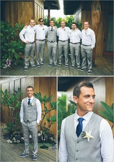 light grey and blue groomsmen with starfish boutonnieres wedding groomsmen Hawaiian Beach Wedding in Pink and Grey Groomsmen Attire Grey, Beach Wedding Groom Attire, Beach Groom, Wedding Dress, Mens Beach Wedding Shoes, Trendy Wedding, Purple Groomsmen, Beach Wedding Suits, Groom Suits