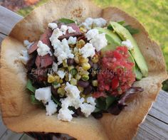 Tex-Mex Taco Salad with Black Beans, Roasted Corn and Queso Fresco in an Avocado Dressing ┆© Life Through the Kitchen Window Avocado Dressing, Roasted Corn, Spice Blends, Tex Mex, Black Beans, Vinaigrette, Fresco, Sauces, Window