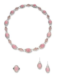 ** A SUITE OF CONCH PEARL, PINK CORAL AND DIAMOND JEWELLERY Comprising a necklace, designed as a line of eleven graduated conch pearls set in pink coral and diamond surrounds, to the pavé-set diamond spacers, a pair of ear pendants and ring en suite, mounted in 18k white and pink gold, necklace 41.5 cm, ear pendants 3.1 cm long, ring size 5½. $348,215