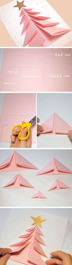 Pink Tree Easy Holiday Cards Simple Christmas DIY Christmas Crafts for Kids DIY Christmas Card Ideas for Families ♠ Carte sapin origami ♠[Origami] Origami Is Fun and Beneficial for Kids ** Be sure to check out this helpful article. Christmas Decoration For Kids, Christmas Crafts For Kids, Simple Christmas, Christmas Projects, Holiday Crafts, Diy Decoration, Tree Decorations, Holiday Meme, Origami Decoration