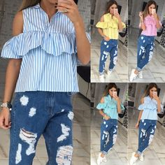 e8fb9f7bb33 5200+Orders Price 3.82 Trendy Summer Women Loose Ruffles Off the Shoulder  Plaid Striped Blue Pink Shirts Top Casual Blouses Hot sale