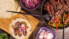 """Rachael shares how to cook """"forgiving"""" skirt steak for fajitas, Asian-style stir fry, in pinwheels   more. Mexican Dishes, Mexican Food Recipes, Beef Recipes, Dinner Recipes, Cooking Recipes, Ethnic Recipes, Yummy Recipes, Vegetarian Recipes, Recipies"""