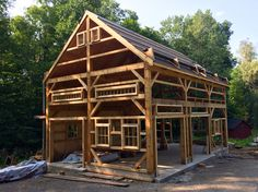 Barns Sheds, Post And Beam, Beams, Cabin, House Styles, Home Decor, Wood, Wood Joints, Barns