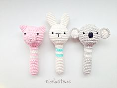 Sonajeros de animalitos tejidos en ganchillo. 100% hand made