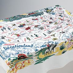 """Vacationland Tablecloth: Perfect for picnics and camping. 72""""x58"""". 100% cotton."""