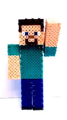 3D Minecraft Inspired Steve Perler Bead Figure by BeadsButtonsCaps