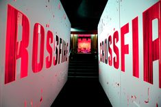 <p> A covered walkway and the logo in giant red letters created a dramatic entrance to the <em>Crossfire</em> premiere event.</p>