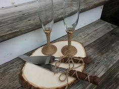 rustic wedding glasses and cake knife set Mr and Mrs by PineNsign We can make this!