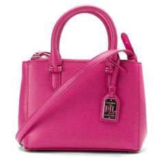Pre-Owned Lauren Ralph Lauren Women's Newbury Mini Double Zip Satchel ($145) ❤ liked on Polyvore featuring bags, handbags, pink, purses, pink leather handbags, ralph lauren purses, pink purse, leather handbags and satchel purses