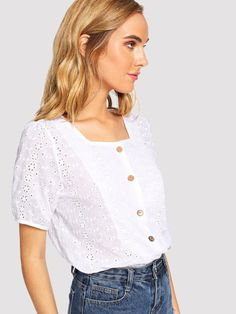 582d3d1783 Product name: Single Breasted Laser Cut Blouse at SHEIN, Category: Blouses