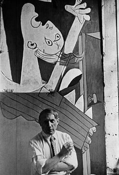 This photograph is of the Spanish painter, Picasso in front of his painting Guernica at its unveiling of the Spanish International World Fair in Paris. (Six weeks after the aerial bombing of the Basque village of Guernica.) Photograph by David Seymour Pablo Picasso, Picasso Guernica, Kunst Picasso, Art Picasso, Picasso Paintings, Oil Paintings, Famous Artists, Great Artists, Robert Capa