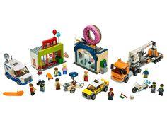Donut Shop Opening 60233 | City | Buy online at the Official LEGO® Shop CA Lego City, Lego Shop, Star Wars Saga, Giant Donut, Toy Shelves, Doughnut Shop, Lego Builder, Life App, Lego System