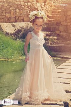 Flower Girl Tulle Dress Baby Girl Long Champagne Gown by Bubale1