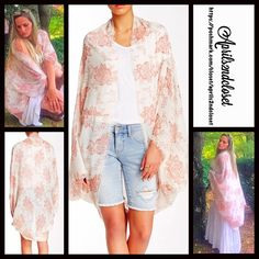 """Cape Kimono Cardigan S, M, L Wrap Coat Cardi NEW WITH TAGS RETAIL PRICE: $68  Boho Festival Cape Kimono Cocoon  * Relaxed & Oversized Wrap Silhouette  * Beautiful print & frayed fringe trim  * Boho'festival feel';Incredibly lightweight for most seasons  * Cocoon like loose knit style w/long wide kimono sleeves, long cardigan style  * Oversized fit; About 41.5"""" long   Fabric:100% Viscose Color: Rose & Ivory Combo Item:9350  No Trades ✅Offers Considered*/Bundle Discounts✅ *Please use the blue…"""