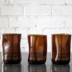 Brown Upcup Recycled Glass Tumblers – Set of 3 by studio MANUFACT available at Scoutmob now. The place to get inspired goods by local makers. Recycled Bottles, Recycled Glass, Whisky Tumbler, Concrete Wood, Cute House, Drinking Glass, Hand Blown Glass, Wine Glass, Recycling