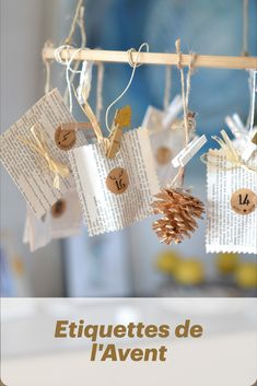 Calendrier de l'Avent recyclé Crochet Earrings, Place Cards, Place Card Holders, Round Labels, Vintage Christmas, Christmas Arts And Crafts, Tips And Tricks