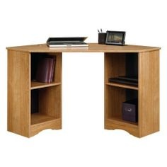 Beginnings Corner Desk in Highland Oak by Sauder by Sauder. $75.69. 2 adjustable shelves. Desktop features 2 grommet holes for cord management. Constructed of environmentally friendly engineered wood. Dimensions: 23.5L x 53.13W x 28.75H inches. Highland oak finish. 413074 Color: Highland Oak Features: -Desk top has two grommet holes for cord management. Collection: -Beginnings collection.. Save 20%!