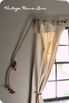 Diy curtains 511158626437547778 - Vintage Home Love: Rope Curtain Rod! AND DIY Curtains! Drop Cloth Curtains, Hanging Curtains, Diy Curtains, Bedroom Curtains, Beach Curtains, Canvas Curtains, Vintage Curtains, Bedroom Vintage, Nautical Curtains