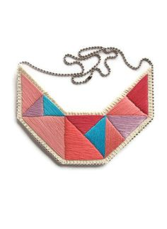 Colorblock bib necklace in bright pinks lavender and blue embroidered triangles