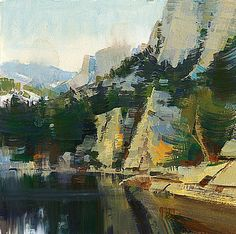 Mike Hernandez     Reflections on Lone Pine Lake High Sierras 6x6 gouache