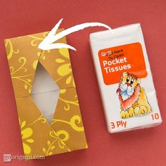 Origami Tissue Box for your purse from just a single sheet of scrap booking paper.
