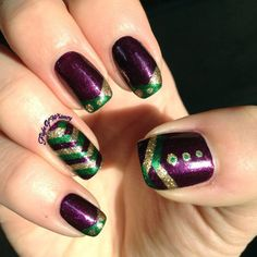 Mardi Gras Nails  #chevronnails #purple #polish - bellashoot.com