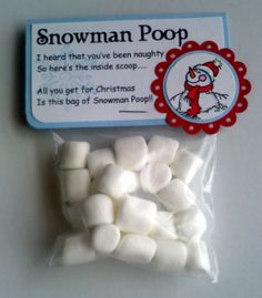 christmas parties, craft, friends, chocolates, snowman poop, kids, holiday gifts, marshmallows, bags