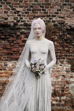 Katie Shillingford on her wedding day wearing Gareth Pugh; veil by Stephen Jones; bouquet by McQueens
