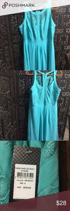 City Chic Sundress Mint green sundress with cutout detail   City Chic size Small so please know your size for this maker. Their small runs about a 16W.  Lined  100% Polyester City Chic Dresses Midi