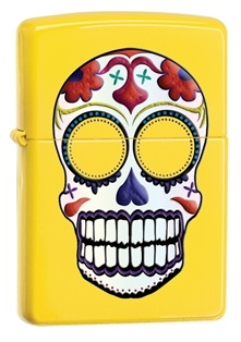 Day of the Dead Skull on Yellow Zippo Lighter.