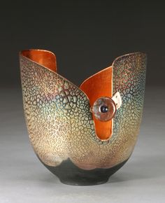 Marc Genesel / Raku pottery lined with copper leaf, curved rim, jasper, lapis lazuli