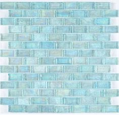 Iridescent Pool Glass Tile Aqua is face mounted on a 12 inches by 12 inches clear tape sheet for an easy installation. Each individual tile chip is thick. Iridescent glass tiles reflect the li Blue Mosaic Tile, Blue Tiles, Iridescent Tile, Blue Backsplash, Backsplash Ideas, Tile Ideas, Bathroom Backsplash Tile, Tiling, Décor Ideas