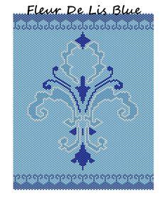 Fleur De Lis Blue Word Map & Chart | Bead-Patterns