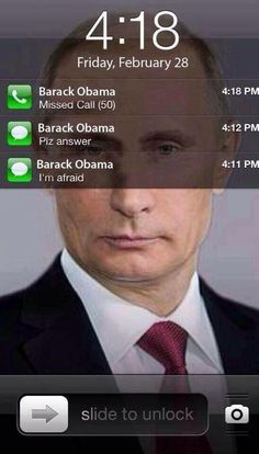 """A pinner says, """"HILARIOUS: This is what Putin's iPhone looks like right now"""